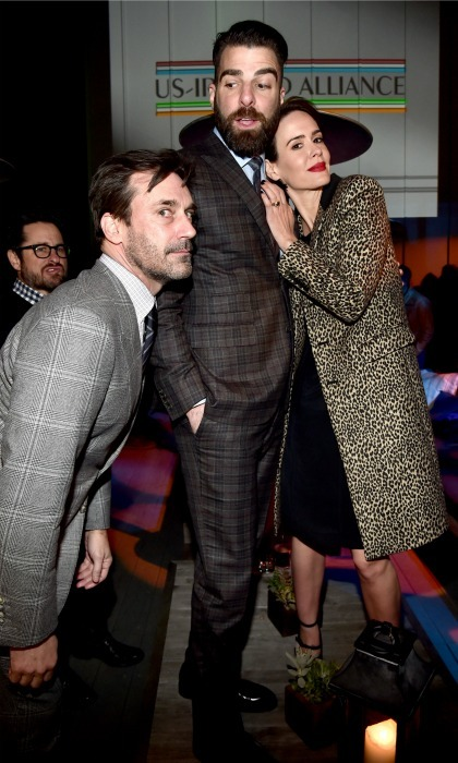 February 23: Jon Hamm, honoree Zachary Quinto, and actress Sarah Paulson had some fun during the 12th US-Ireland Alliance's Oscar Wilde Awards in Santa Monica. 
