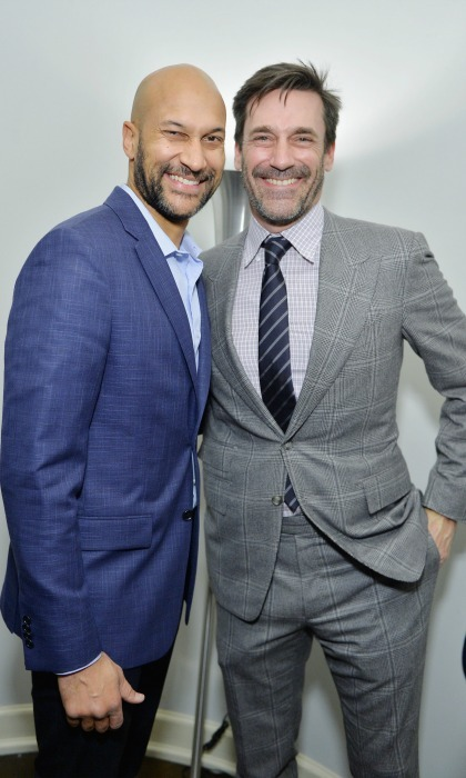 February 23: Big smiles! Keegan-Michael Key and Jon Hamm flashed their pearly whites during the Vanity Fair and Lancome Toast to The Hollywood Issue at Chateau Marmont in West Hollywood.