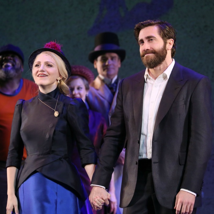 "February 23: Take a bow! Annaleigh Ashford and <a href=""http://us.hellomagazine.com/tags/1/jake-gyllenhaal/""><strong>Jake Gyllenhaal</strong></a> posed during the opening night performance of <i>Sunday in the Park with George</i> at the Hudson Theatre in NYC. 