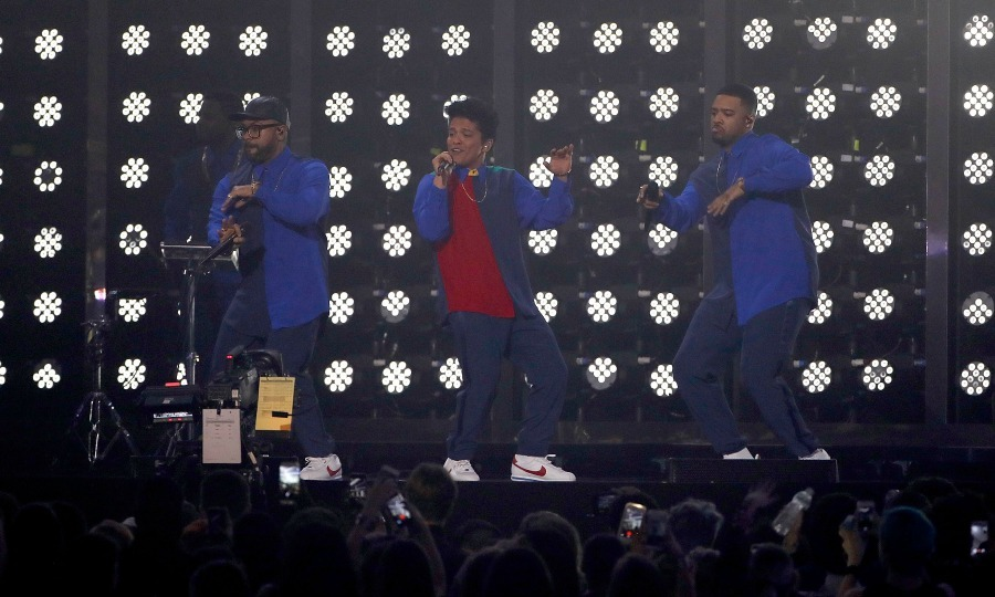 February 22: Pop, pop, it's showtime! Bruno Mars had all the right moves during his performance of <i>That's What I Like</i> during the 2017 BRIT Awards in London. 
