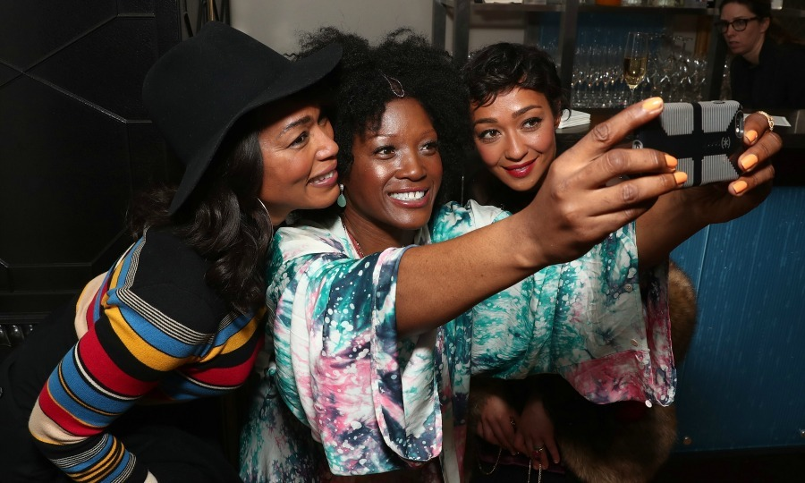 February 22: Selfie time! Angela Bassett, Yolanda Ross and Ruth Negga smiled for a selfie at the 8th annual Oscar's Sistahs Soiree Presented by Alfre Woodard and Farfetch in Beverly Hills. 