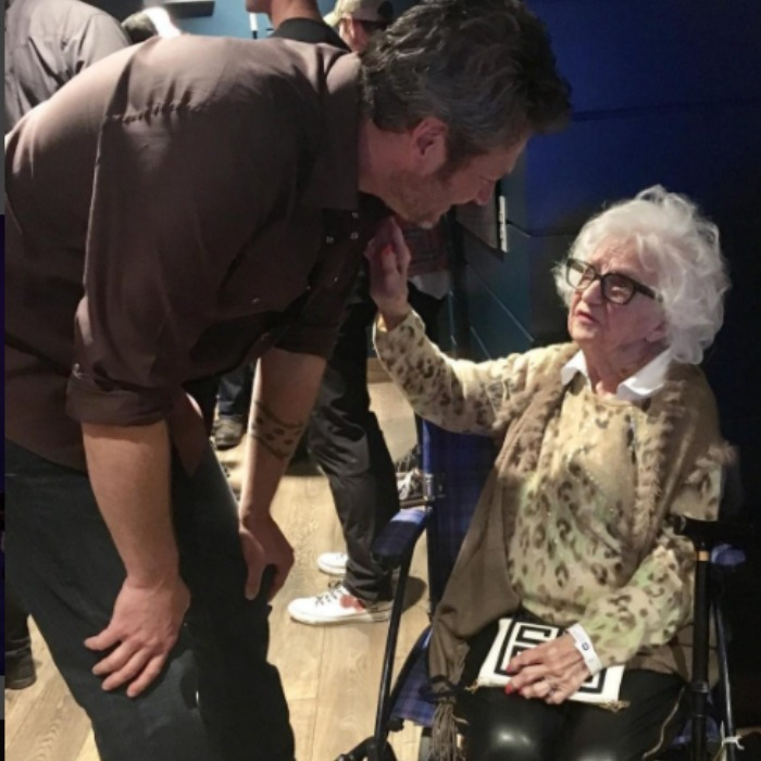 "February 18: <a href=""http://us.hellomagazine.com/tags/1/blake-shelton/""><strong>Blake Shelton</strong></a> met with a 96-year-old fan backstage after a show. <i>The Voice</i> coach captioned the special moment, ""Hope I'm still showin up to country shows at 96!!"" 