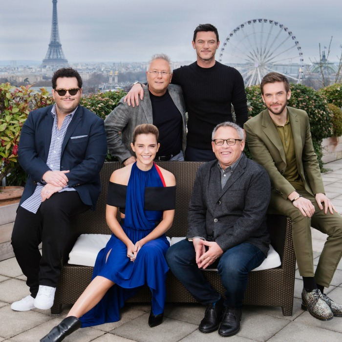 February 20: The cast of <i>Beauty and the Beast</i> Josh Gad, Emma Watson and  Luke Evans posed with the film's composer Alan Menken and director Bill  Codon in Paris. 