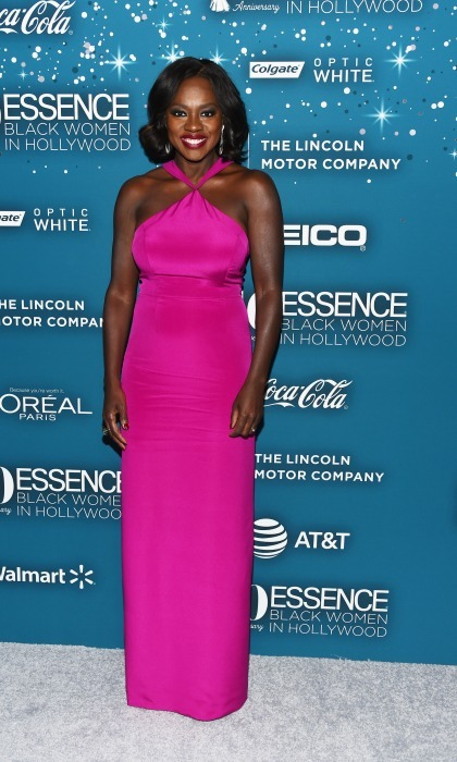 February 23: Pretty in pink! Viola Davis hit another award season knockout in a custom gown by Christian Siriano during the Essence 10th annual Black Women in Hollywood Awards in Beverly Hills. 