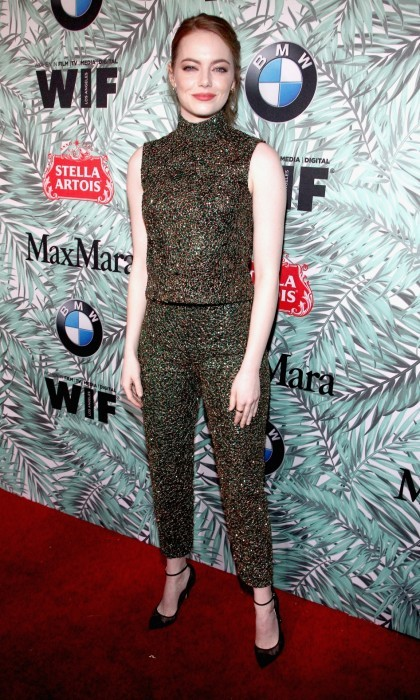 February 24: Emma Stone sparkled on the 10th Annual Women in Film Pre-Oscar Cocktail Party carpet in L.A. The 2017 Best Actress frontrunner nailed it in a sleeveless black number that featured a high neck.