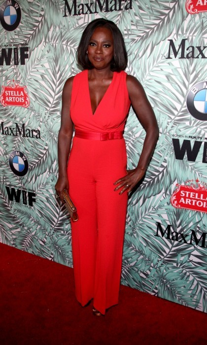 February 24: Red hot! Viola Davis stunned in a sleek Max Mara jumpsuit at the 10th Annual Women In Film Pre-Oscar Cocktail Party. The acclaimed actress attended the event with her husband Julius Tennon.
