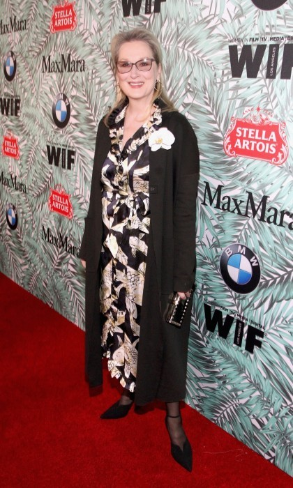 February 24: Hollywood royalty Meryl Streep showed her support for Women In Film. The star looked classy in a black and white patterned dress topped with a long black sweater.