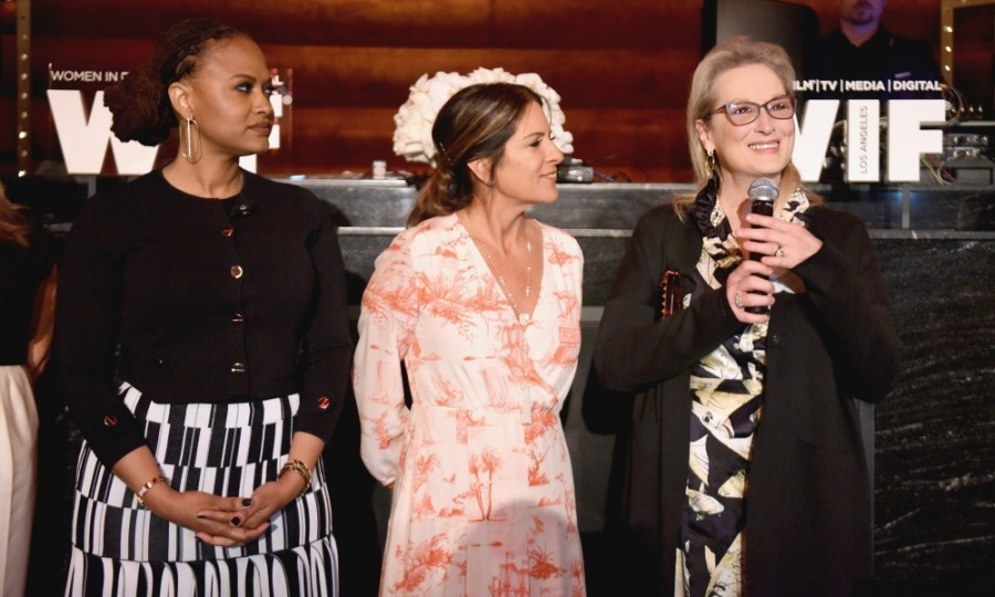 "February 24: Meryl Streep also spoke at the annual WIF event. Her words, however, were impromptu. No doubt referring to her recent <a href=""http://us.hellomagazine.com/film/2017010935644/meryl-streep-criticises-donald-trump-golden-globes/""><strong>Golden Globes speech</strong></a>, the award-darling joked, ""I feel like never saying anything again... Everyone is speaking up and that's great because with numbers they can't ignore us!""