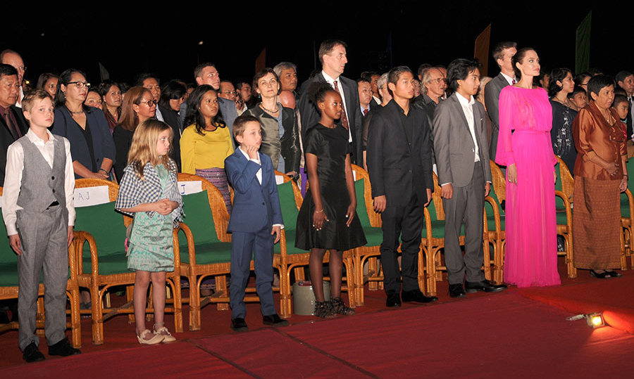 Angelina Jolie was joined by all six of her children on the carpet of her film premiere in Cambodia. Maddox, 15, Pax, 13, Zahara, 12, Shiloh, ten and eight-year-old twins Vivienne and Knox accompanied their mom for a screening of <i>First They Killed My Father</i>.