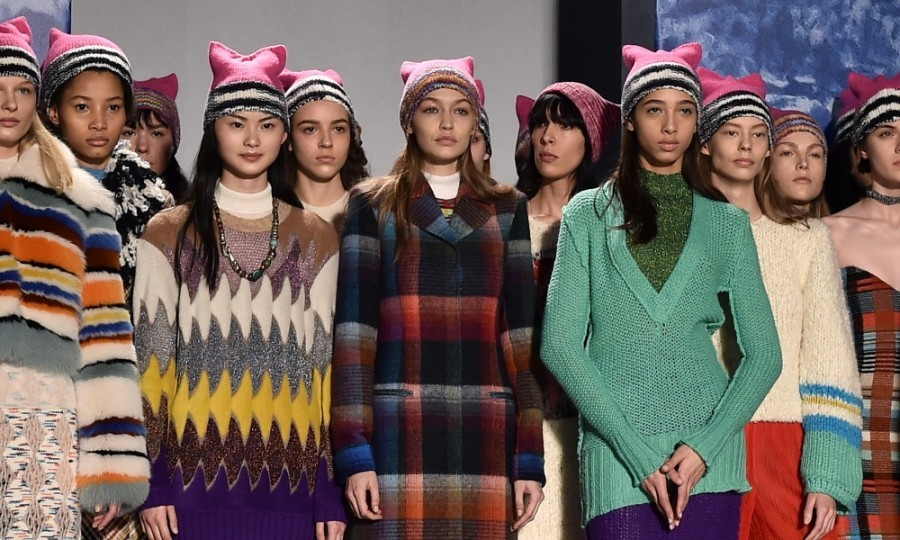 Gigi Hadid and her fellow models brought the Women's March to Milan, wearing the movement's iconic-pink hats on the Missoni runway. Staffers and attendees also received hats, making the whole show a mass of pink ears. 