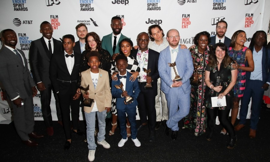 "February 25: Filmmaker Barry Jenkins was joined by the cast and crew of <i>Moonlight</i> after winning big at the 2017 Film Independent Spirit Awards. Scoring the most Spirit Awards for a movie in the last decade, the film took home ""Best Feature"" at the ceremony in Santa Monica, California. They even received a prestigious honor (the Robert Altman Award) from Kerry Washington, who teared up upon giving it to the team.