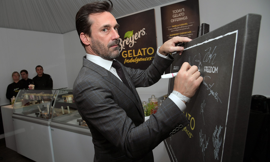 February 25: Jon Hamm dropped by the Breyers Gelato Indulgences gelateria backstage at the 2017 Film Independent Spirit Awards.