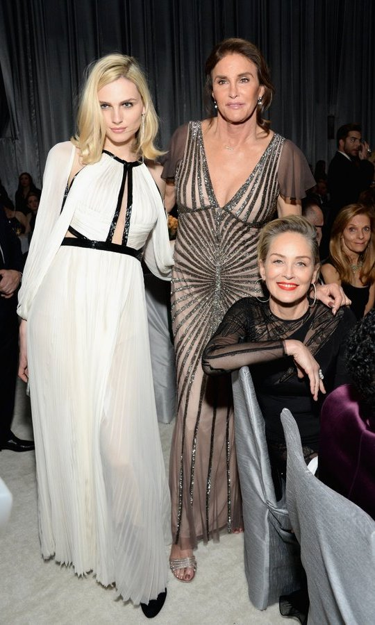 Left to right: Model Andreja Pejic, Caitlyn Jenner and Sharon Stone were all glam at the 25th Annual Elton John AIDS Foundation's Academy Awards Viewing Party. 