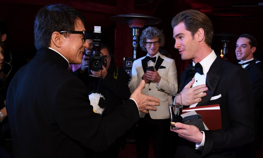 Andrew Garfield appeared humbled to be meeting Jackie Chan at the 89th Annual Academy Awards Governors Ball.
