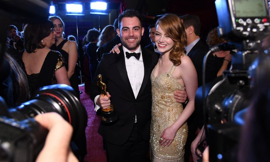 Winner for Best Actress Emma Stone, who gave brother Spencer a shout out during her acceptance speech, partied the night away with her sibling at the 89th Annual Academy Awards Governors Ball.