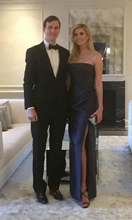Ivanka stepped out alongside her dapper husband, Jared Kushner, wearing a column-silhouette dress by J. Mendel for the 2017 Governors Ball in D.C. 