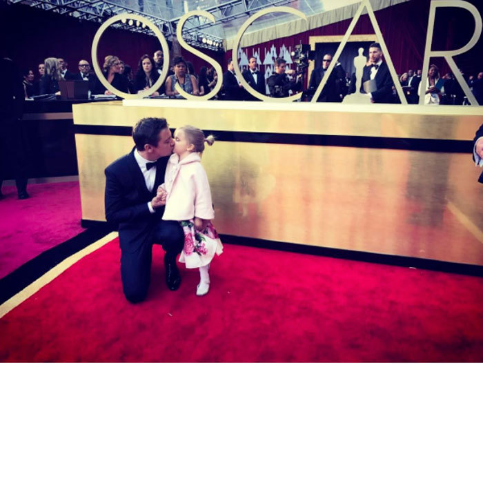 "Jeremy Renner had the cutest date at the 89th annual Academy Awards. The <i>Arrival</i> star brought along his little girl Ava. Sharing a tender photo from the red carpet, the actor wrote, ""My date for the Oscars!! Omg I could not be more proud!!! #oscars #academyawards #redcarpet #daddydaughter #victorywithmyNUMBERONE.""