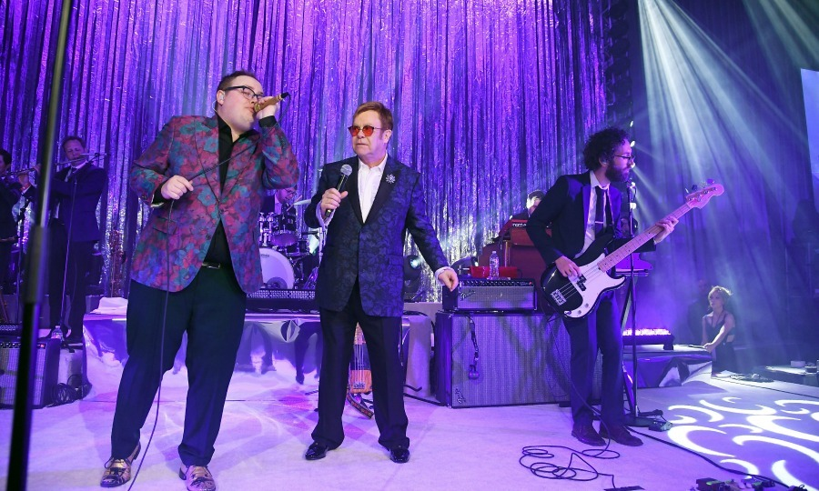 Elton John took the stage at the 25th annual Elton John AIDS Foundation's Oscar viewing party in L.A. 