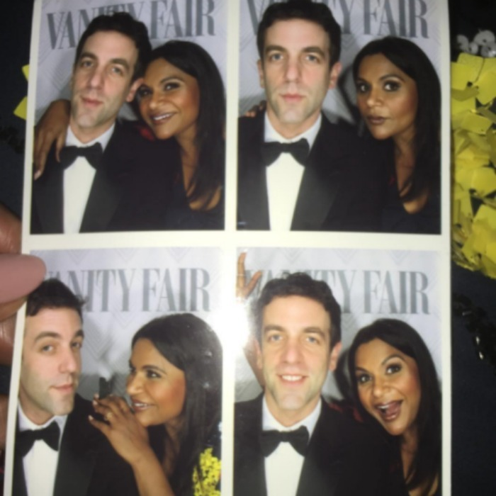 Mindy Kaling and BJ Novak reunited for some photo booth fun during the Vanity Fair Oscars after party. 