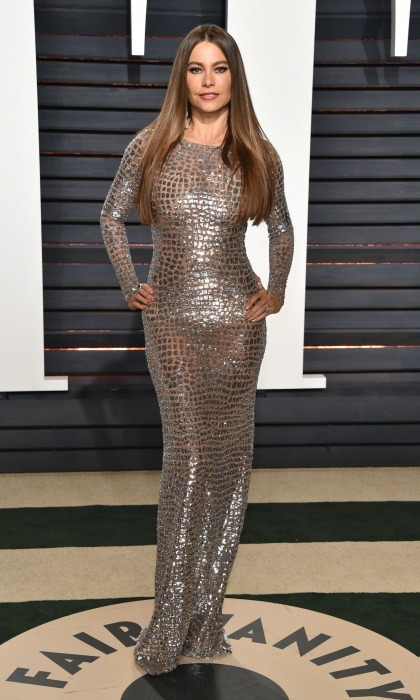 Sofia Vergara had a sheer moment in her floor-length gown by Michael Kors during the 2017 Vanity Fair after party in Beverly Hills. 