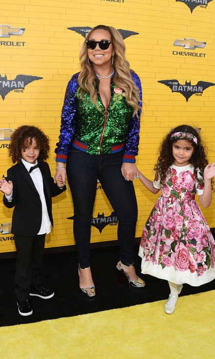 Mariah Carey had two adorable dates, her twins Moroccan Scott Cannon and Monroe Cannon, for the premiere of Warner Bros. Pictures' <i>The LEGO Batman Movie</i>.