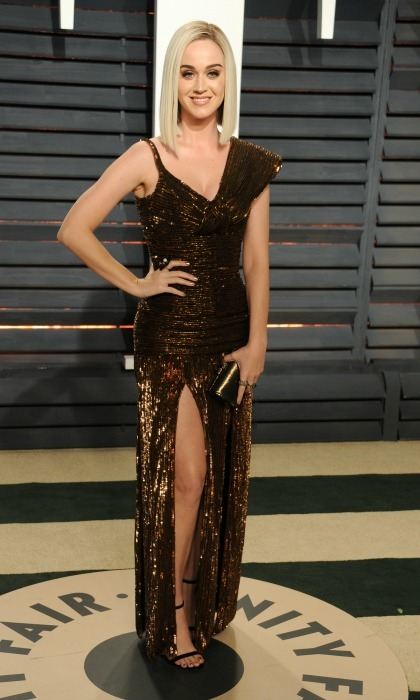 Katy Perry shined in bronze number by Jean Paul Gaultier during the 2017 Vanity Fair Oscars after party. 
