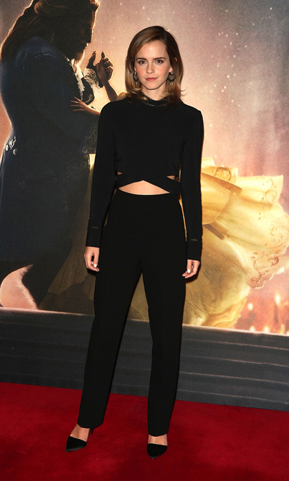 <b>London</b>: Emma Watson showed off her trim figure wearing a black, bespoke 3.1 Phillip Lim outfit and matching Burberry pumps for a <i>Beauty and the Beast</i> photocall in London, England. 