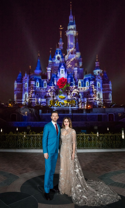 <b>Shanghai</b>: Emma Watson (pictured alongside her co-star Dan Stevens) looked every bit the part of a princess, dazzling in an embellished Elie Saab Haute Couture number, which featured a detachable cape, for the <i>Beauty and the Beast</i> premiere held at Shanghai Disneyland.