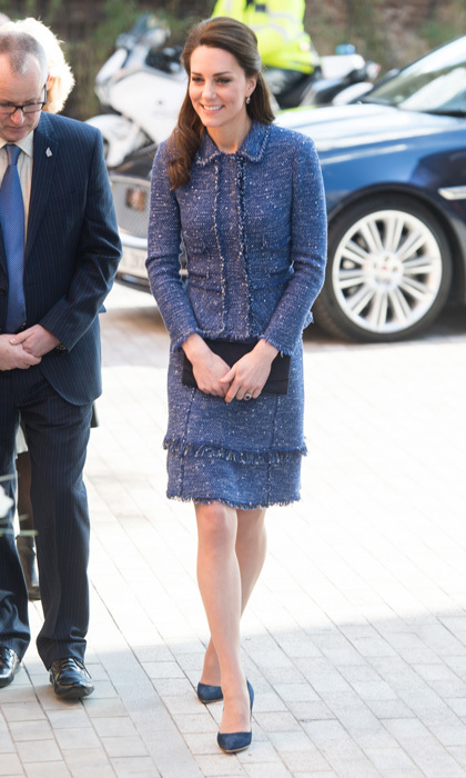 Kate Middleton stepped out in a stylish tweed skirt suit by Rebecca Taylor for a visit to Ronald McDonald House Evelina London to meet with families at the local children's hospital.
