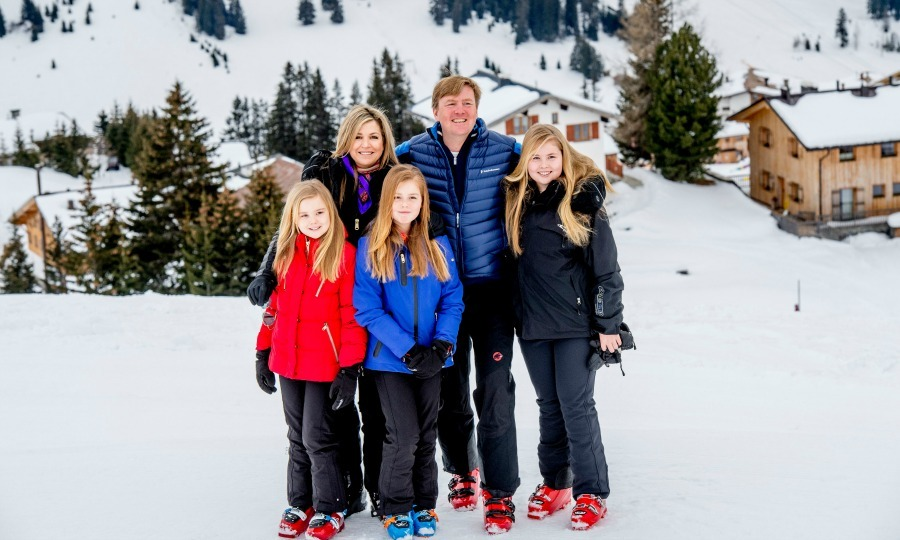 Princess Alexia hit the slopes with her parents Queen Maxima and King Willem-Alexander and her sisters Catharina-Amalia and Princess Ariane one year after her ski accident. 