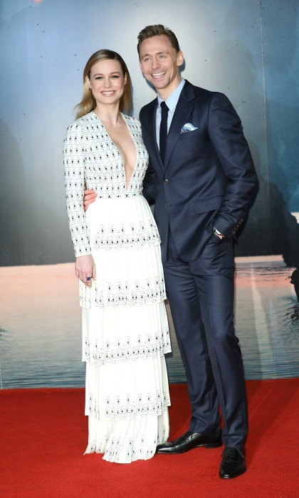 February 28: Brie Larson took the plunge in a floor-length Ralph & Russo gown with the Jimmy Choo HOLLY sandal as she stood next to Tom Hiddleston during the premiere of <i>Kong: Skull Island</i> in London. 