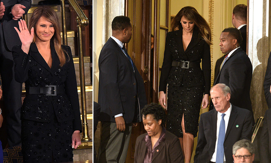 For her husband's first joint session of the U.S. Congress on February 28, 2017, Melania arrived at the House chamber of the U.S. Capitol wearing her own twist on the LBD – the little black suit. The sparkling skirt and jacket, which together retail for $9,590, are by one of the first lady's favorite designers, Michael Kors.