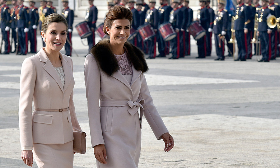 Spain's Queen Letizia and Argentinian First Lady Juliana Awada had a twinning moment during a welcoming ceremony at the Royal Palace in Madrid on February 22. 
