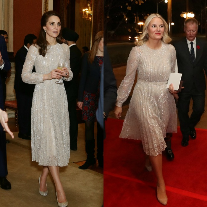 A frock fit for future Queens! Months before the Duchess of Cambridge had her Cinderella moment wearing shimmering Oscar de la Renta pumps and her Erdem Rhona dress to the launch of the UK-India Year of Culture 2017, Crown Princess Mette-Marit of Norway stepped out wearing the same pleated, elegant Dress to the Canadian Museum of History in Quebec.