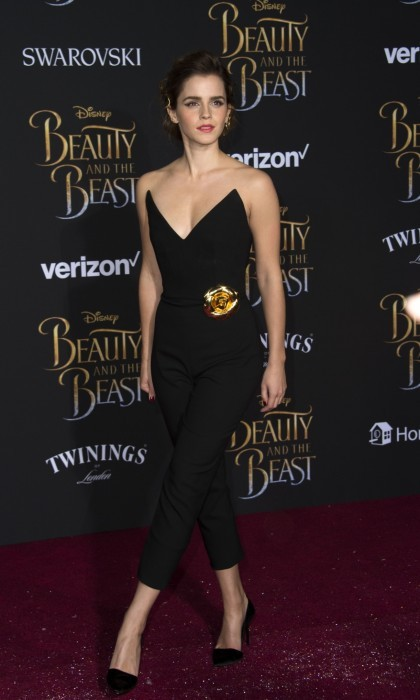 <b>Los Angeles</b>: Emma opted for a black strapless Oscar de la Renta jumpsuit for the Hollywood premiere.