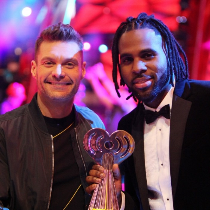 March 2: Ryan Seacrest and Jason Derulo attended the 2017 iHeartRadio Music Awards Media Preview Day at The Forum in Inglewood, California. The pair posed with one of the night's trophies!