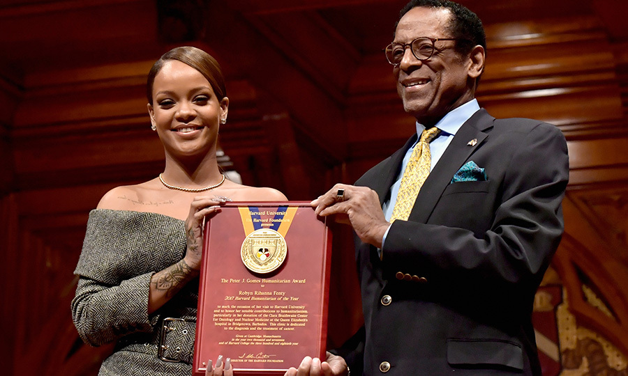 "February 28: Rihanna was presented with Harvard University's Humanitarian Award. The 29-year-old singer gave a <a href=""http://us.hellomagazine.com/celebrities/02017030133744/rihanna-harvard-humanitarian-award-speech""><strong>beautiful speech</strong></a> upon being honored, urging the crowd of students to ""help in any way.""