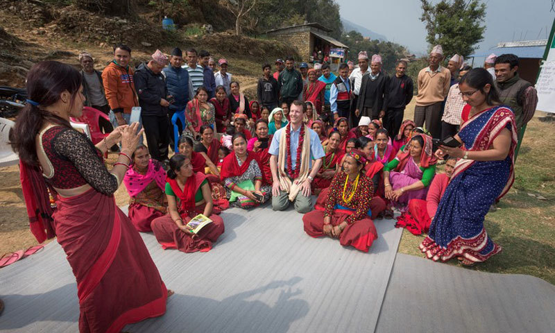 Say cheese! Prince Joachim of Denmark posed for a photo, while visiting the Baunnelek Community Forest Users Group in Nepal. The trip marks the Danish royal's first patron visit to the country in 25 years with CARE.