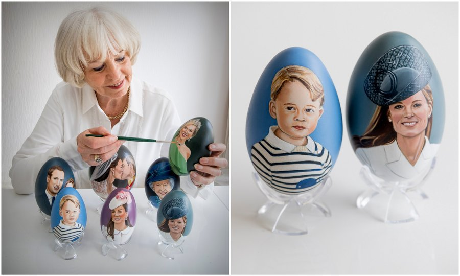 Talk about eggs-ellent work! Dutch artist Tiety Entjes-Weij showed off her hand-painted portraits of the British and Dutch royals – including Prince George and the Duchess of Cambridge, right – on eggs, just in time for Easter. 