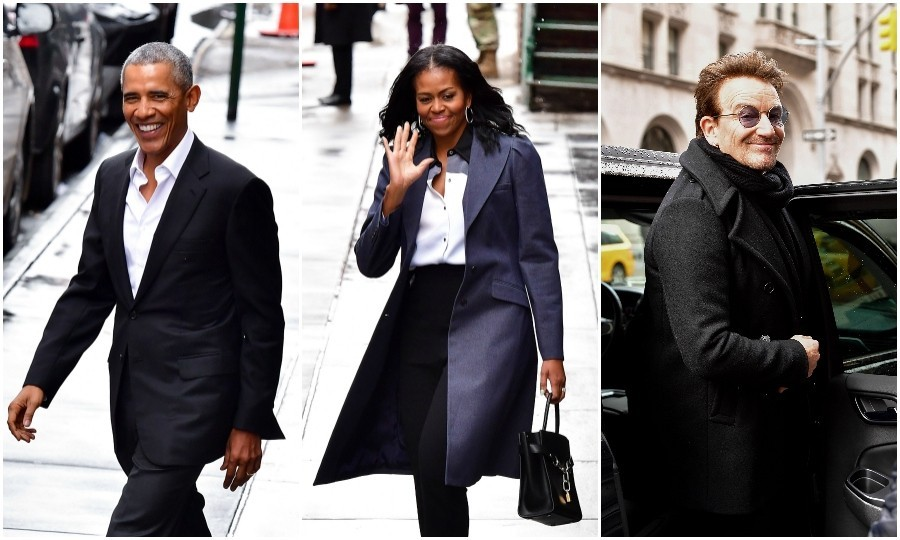 March 10: Rockstars! Barack and Michelle Obama continued to show us how amazing their post-presidential life is by meeting Bono for lunch in New York City. The former president and first lady sat down with the U2 frontman at Upland restaurant, a famous brasserie. 