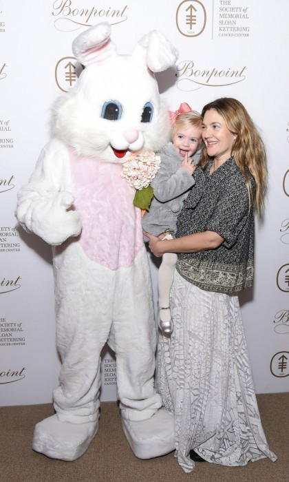 "March 7: Starstruck! Drew Barrymore and her daughter Frankie met the Easter Bunny at The Society of MSK's 2017 ""Bunny Hop."" The hoppin' event took place at 583 Park Ave in NYC. 