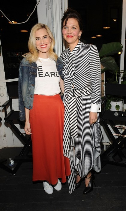 March 8: Allison Williams and Maggie Gyllenhaal participated in the Be Bold For Change panel in celebration of International Women's Day hosted by Keds and Refinery29 in New York City.