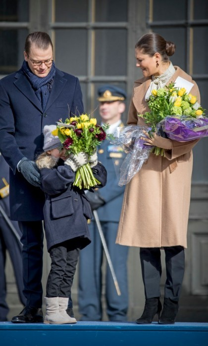 March 2017: Princess Estelle couldn't resist showing off her silly side when standing next to her parents Prince Daniel and Crown Princess Victoria on the Swedish royal's Name Day.