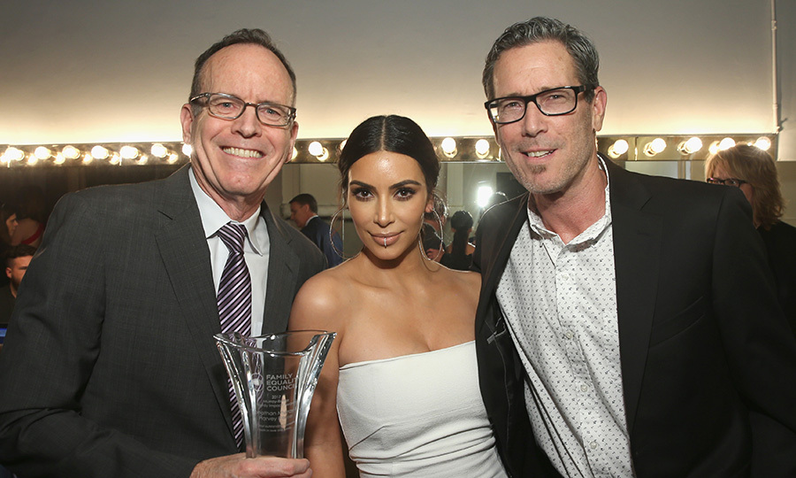 March 11: Sporting a silver lip ring, Kim Kardashian presented an award to honorees Harvey Reese and Jonathan Murray at Family Equality Council's Impact Awards at the Beverly Wilshire Hotel. 