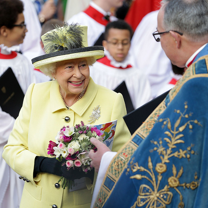 Queen Elizabeth chatted with John Hall, the Dean of Westminster, as she left the Commonwealth Day Service at Westminster Abbey in central London on March 13, 2017. 