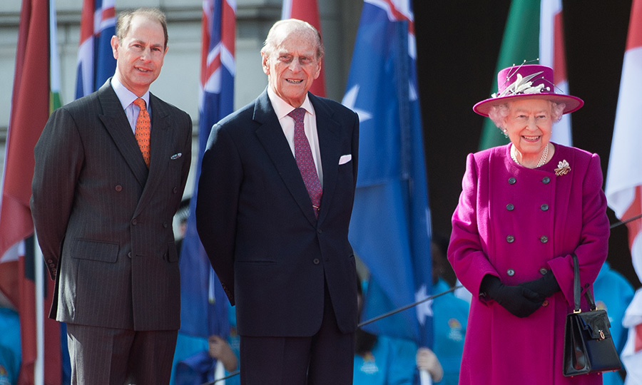 Husband Prince Philip and son Prince Edward joined Queen Elizabeth at the launch of The Queen's Baton Relay for the XXI Commonwealth Games, which will be held on the Gold Coast in 2018. 