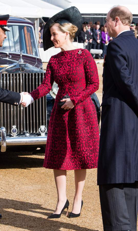 Sophie, Countess of Wessex donned a 1950s-inspired look for the dedication service of the Iraq and Afghanistan memorial at Horse Guards Parade in London.