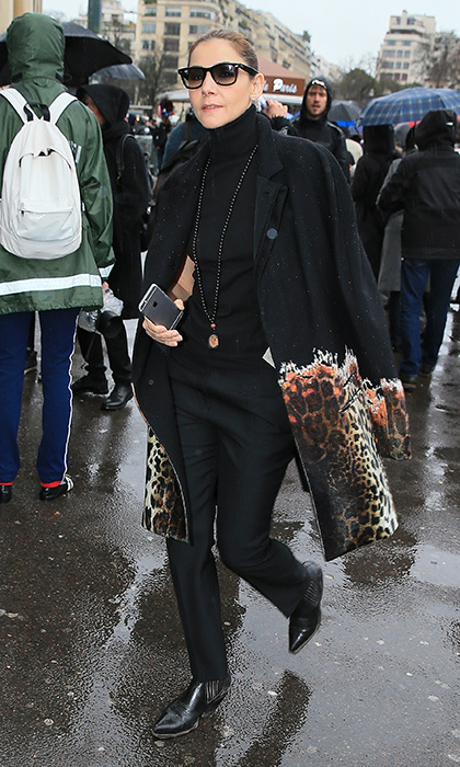 French actress Clotilde Courau – a.k.a. Clotilde of Savoy, Princess of Venice – was purr-fectly on point in leopard print at the PFW Haider Ackermann presentation.