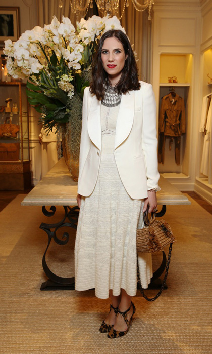Monaco royal Tatiana Casiraghi wore this pretty tailored look and leopard print heels at the Ralph Lauren store in Paris to view the brand's See Now, Buy Now collection.