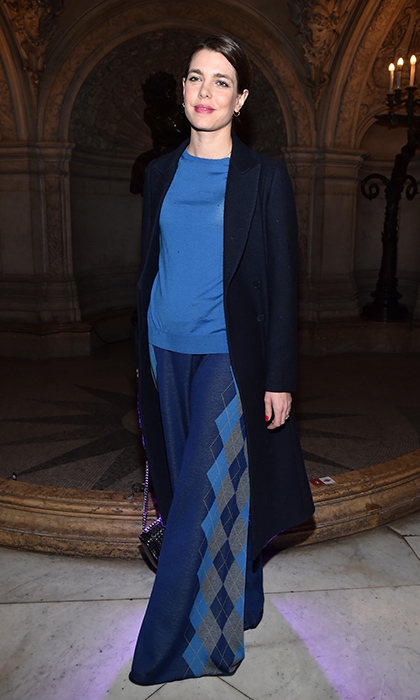 Princess Grace's granddaughter Charlotte Casiraghi was all about hues of blue as she arrived at the Stella McCartney show at Paris Fashion Week.